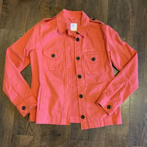 Gap Utility Jacket coral XS pockets cotton buttons
